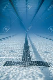 underwater view of a black line starts and corridor of an sports peion 50m pool