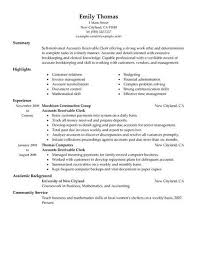 Accounts Receivable Resume Format Resume Example 2018