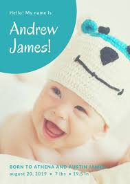 birth announcement templates baby photo with script birth announcement templates by canva