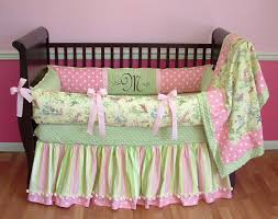 green pink and yellow blossom toddler bedding set with ribbon for black wood baby crib