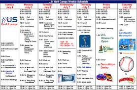 Summer Camp Weekly Schedule Camp Life One Week Schedule Us Golf Camps