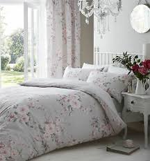 grey pink rose fl double cotton