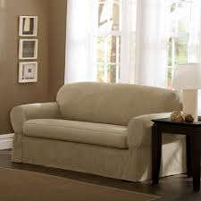 maytex piped faux suede non stretch 2 piece sofa furniture cover slipcover flax com