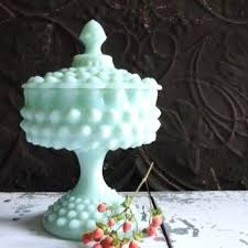hobnail milk glass vintage mint green hobnail milk glass candy dish hobnail pedestal compote hobnail milk
