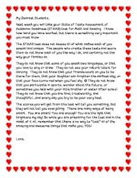Staar Test Letter To Students By A To Z Resources Tpt