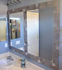 bathroom mirror frame tile. Interesting Tile Ordinary Mirrors In Tile Frame With A Divider Between Them On Bathroom Mirror Frame Tile