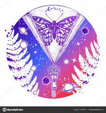 Vesmír A Motýl Tetování Umění Symbol Zasvěcence Galaxy Stock
