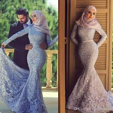 2017 muslim wedding dresses lace long sleeves mermaid high neck