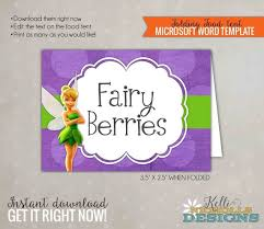 Tinkerbell Template Tinkerbell Birthday Food Tent Fairy Party Decoration Etsy