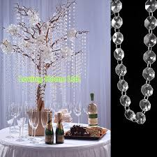 hanging crystals for wedding centerpieces. diy branch and crystal centerpieces | 33 ft octagonal clear glass bead garland strands. hanging wedding crystals for g