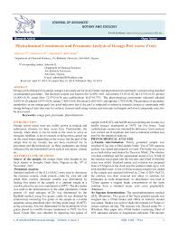 Pdf Phytochemical Constituents And Proximate Analysis Of Orange