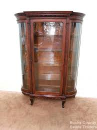 curved glass china cabinets antique oak bowed curio cabinet tiger small