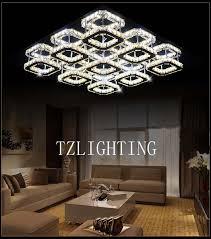 k9 crystal chandelier light modern simple led stainless steel ceiling light living room square pendent lamp