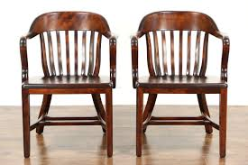 pair 1920 antique birch banker office or library chairs