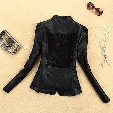 summer new women s autumn fashion casual leather jacket lady small pu leather lace stitching slim