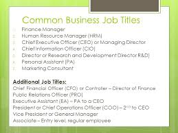 Job Descriptions And Dream Jobs March 20, Common Business Job Titles ...