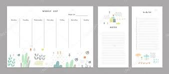 Weekly Planner Template Organizer And Schedule Stock Vector