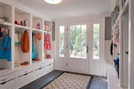 new york mudroom built in with traditional accent and storage benches entry half glass front door