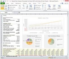 Break Even Point Excel Break Even Analysis Template For Excel 2013 With Data Driven Charts