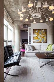 modern lighting living room. Furniture:Modern Interior Style In Industrial Themed Also Modern Black Leather Armless Cgair Utilizing Many Lighting Living Room