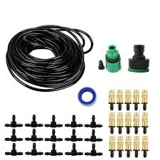 2019 15m copper nozzle irrigation system portable misting automatic watering garden hose spray head with 4 7mm tee and connector from lireen