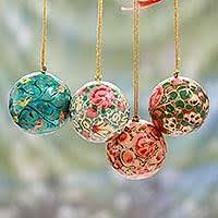 Papier mache ornaments, 'Christmas Joy' (set ...