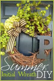 front door wreaths for summerSUMMER INITIAL WREATH DIY  StoneGable