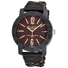 bvlgari bvlgari automatic brown dial brown leather men s watch bvlgari bvlgari automatic brown dial brown leather men s watch 102633