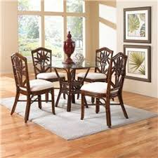 cancun palm indoor 5 pc rattan wicker dining set with four side chairs round