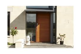 timber entrance door with horizontal detail and sidelight