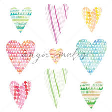 Set Of Geometric Watercolor Hearts Background Collection Angie