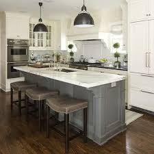 Small Picture White Kitchen Cabinets with Gray Kitchen Island Transitional