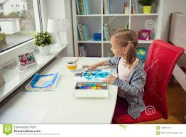 Home office colorful girl Handmade Pretty Little Child Girl Painting Winter With Colorful Paint At Home Dreamstimecom Pretty Little Child Girl Painting With Colorful Paint At Home Stock