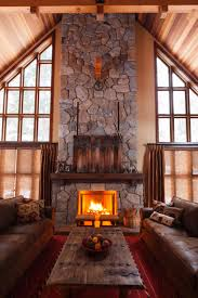 Decorations:Rustic Exposed Stone Fireplace Design With Wooden Wall Mantel  Also Vintage Wooden Coffee Table