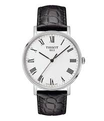 tissot everytime men s black roman numeral leather strap watch dillard s