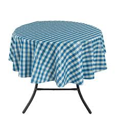 round indoor and outdoor blue checd design tablecloth for dining table