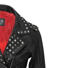 las women black real leather studded biker brando style belted fitted jacket