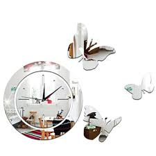 acrylic mirror round clock crystal wall clock erfly home decor sticker