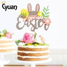 Happy Easter Cake Toppers Rabbit Letter Flowers Cupcake Topper Kids