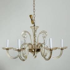 six light chandelier in pale amber murano glass circa 1960s sleek clean