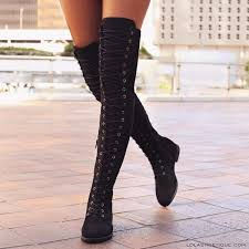 fashion womens round head crossed over the knee boots belt side zipper boots winter lace up boots