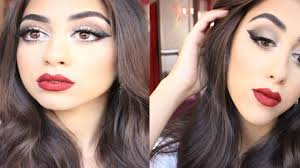 dramatic cat eye with red lips makeup tutorial مكياج سهره جريئ clip fail