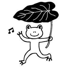 サトイモの葉とカエル梅雨夏の季節6月の行事無料白黒イラスト素材