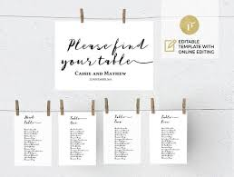 Online Wedding Seating Chart Template Printable Wedding Seating Chart Template Wedding Table Plan Instant Digital Download Diy You Print Calligraphy