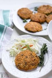 keto salmon patties or cakes with
