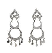 italian cubic zirconia chandelier earrings in 18ct white gold