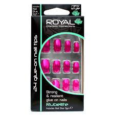 Royal Cosmetic Royal Umělé Nehty V Sadě S Lepidlem Růžové Metalické Lesklé Rubellite 24 Glue On False Nails Tips 24ks