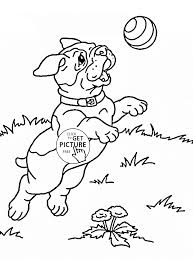 Cute Puppy Playing Coloring Page For
