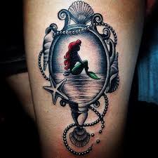 fancy hand mirror tattoo. Wonderful Tattoo Ariel Seen Through A Magical Mirror In Fancy Hand Mirror Tattoo