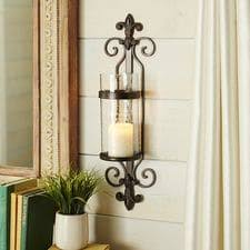 Iron Fleur-De-Lis Pillar Candle Holder Wall Sconce